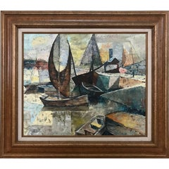 Oil Painting of Cubist Boats