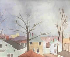 """Sara McCulloch """"Fall Rooftops"""" -- Watercolor Painting on Paper"""