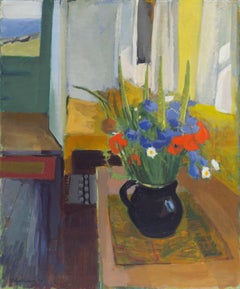 Post-Impressionist Still Life of Wild Flowers in a Danish Modern Interior