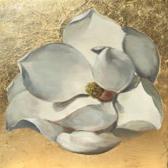 Magnolia: Gold / oil and gold leaf on wood