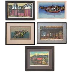 Set of Five Woodblock Prints