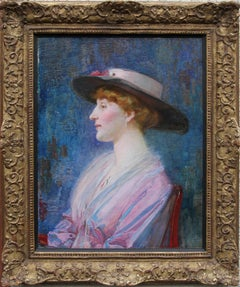 Portrait of a Lady - British Impressionist portrait oil painting pink blue.