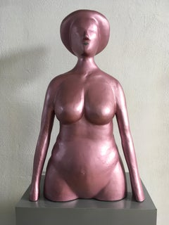 Mediterranean Woman by Ugo La Pietra Figurative Portrait Pink Laquered Aluminum
