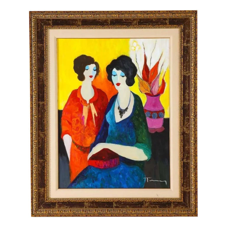 "Itzchak Tarkay (Israel, 1935-2012) ""Two Sisters"" Oil on Canvas Painting"