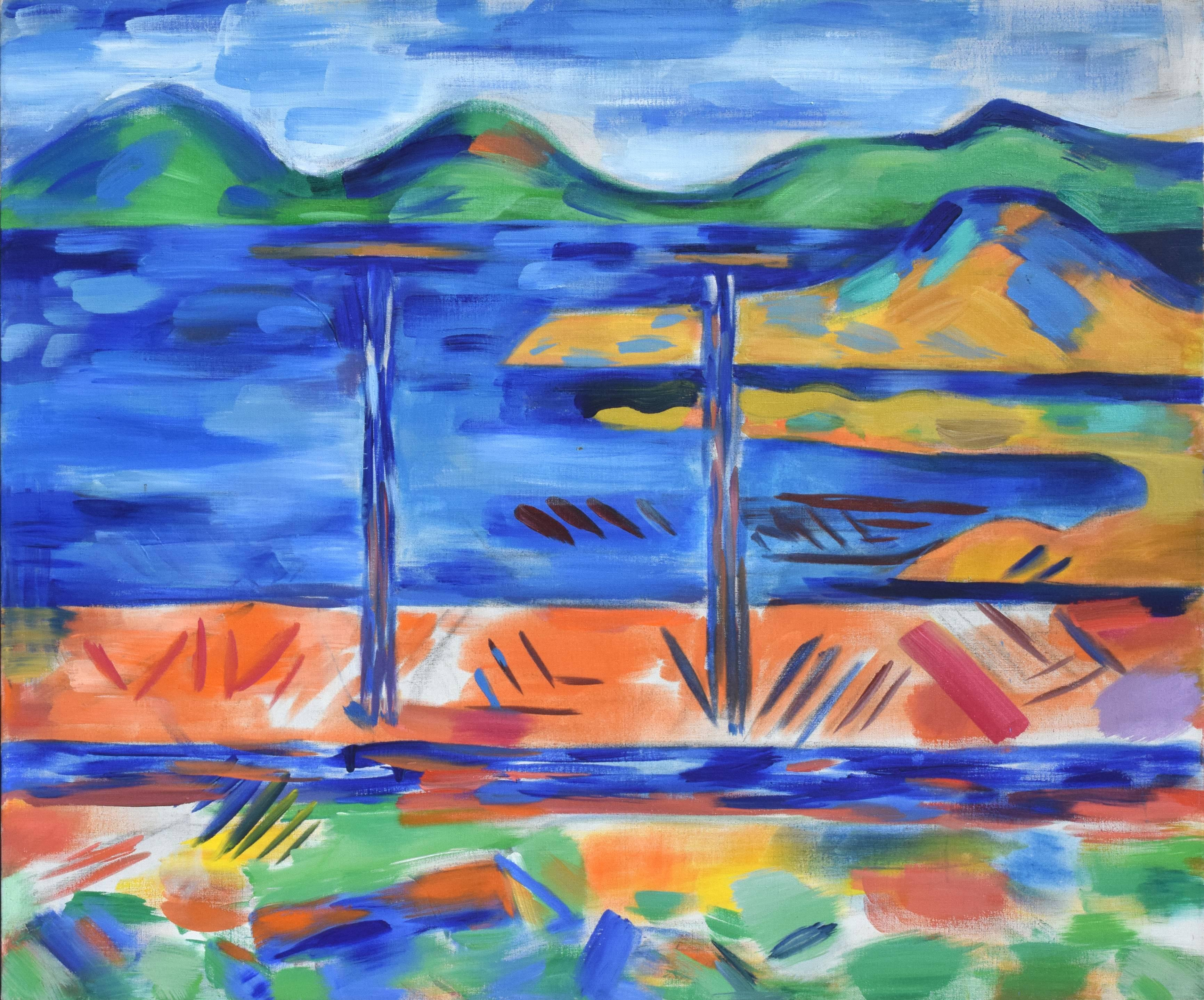 Oakland to Tamalpais Views - Fauvist Abstracted Landscape