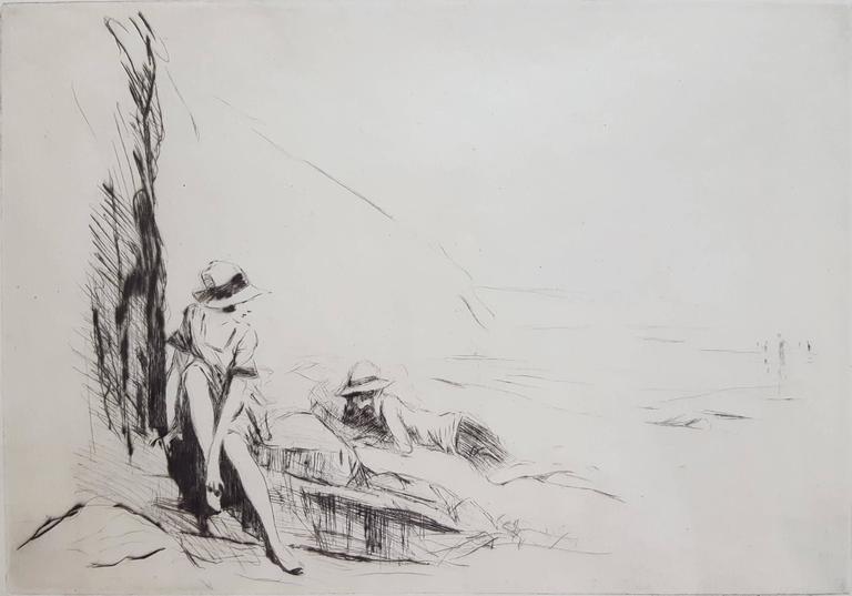 Claude Allin Shepperson Figurative Print - Lyme Regis