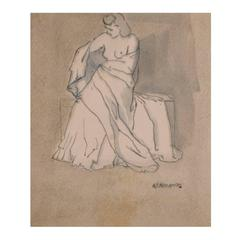 """Draped Female,"" an Italian Watercolor by R. Micaelles (RAM), circa 1930"