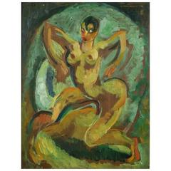 """Josephine Baker,"" a French Art Deco Period Oil Painting by Emile Compard, 1926"