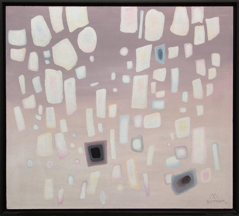 Original 1961 mid-century modern abstract painting by New Mexico Transcendentalist, Emil Bisttram (1895-1976).  Presented in a custom frame, outer dimensions measure 33 x 37 x 1 ¾ inches.  Image size is 32 ½ x 36 ¼ inches. Emil Bisttram grew up in