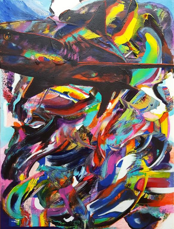 Jack Graves III Abstract Painting - Shark in the Pool