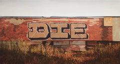 "Jessica Hess, ""D.I.E."", oil painting, hyper-realistic, graffiti landscape"