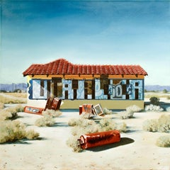 """Bakersfield II"", Hyper-realistic oil painting, graffiti landscape, photorealist"