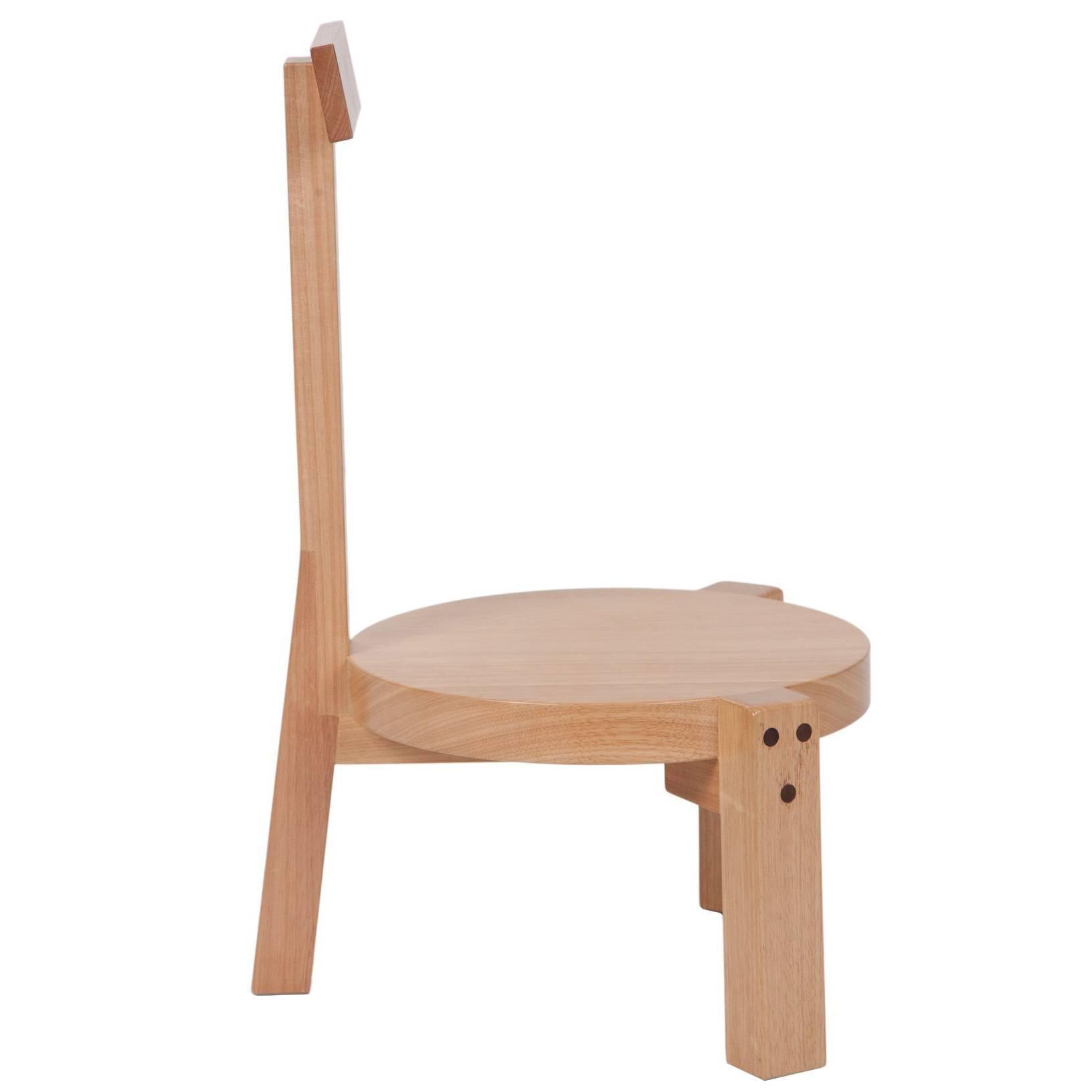 Charmant Girafa Short Chair, Modern Brazilian Design, Handmade Of Solid Wood For Sale