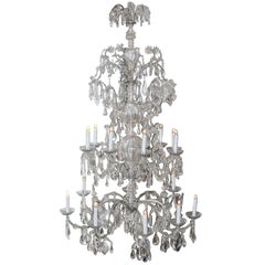 Italian Crystal Sixteen, Light Monumental Chandelier