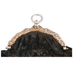 Demilune 18th Century Dutch Louis XV Double Silver Purse with Velvet Bag