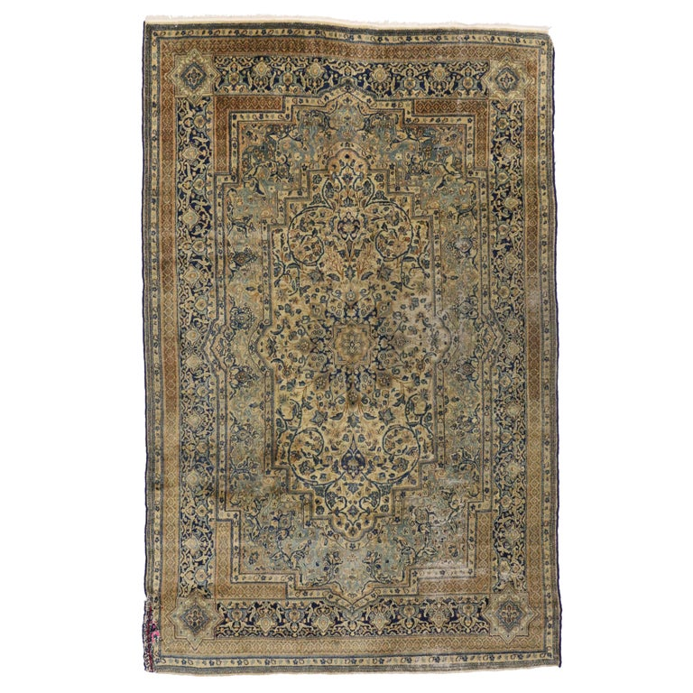 Antique Persian Kerman Area Rug with Hollywood Regency Style, Persian Kirman Rug For Sale