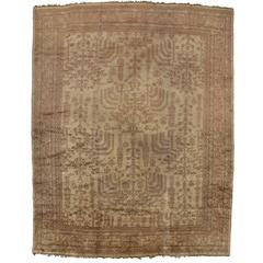 Antique Turkish Oushak Area Rug in Muted Colors with Transitional Style