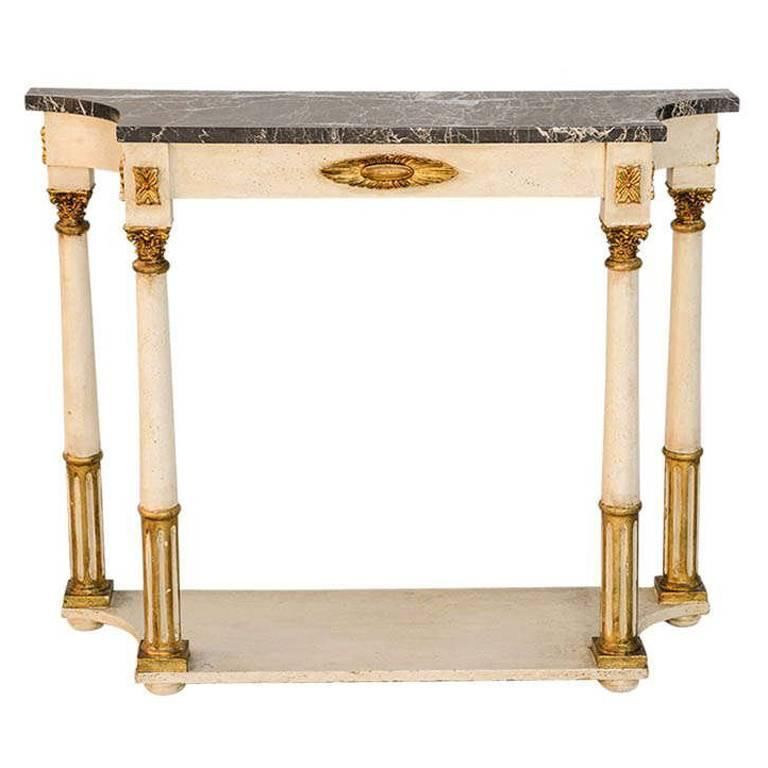 Palladio Painted and Parcel Gilt Console with Black Marble Top