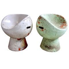 Rare Pair of Willy Guhl Concrete Mushroom Chairs