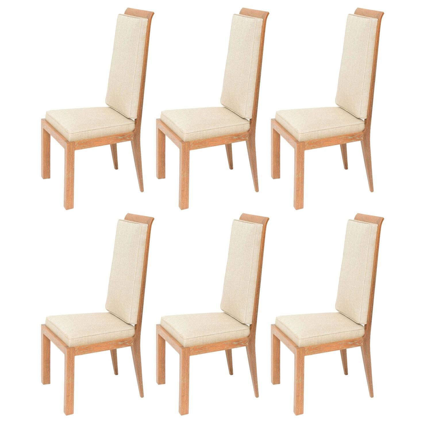 set of six deco dining chairs by maurice jallot in cerused oak for sale at 1stdibs