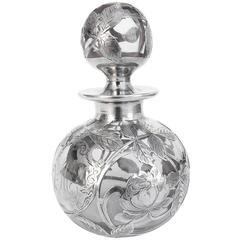 Large Art Nouveau Silver Overlay Perfume Bottle, circa 1900