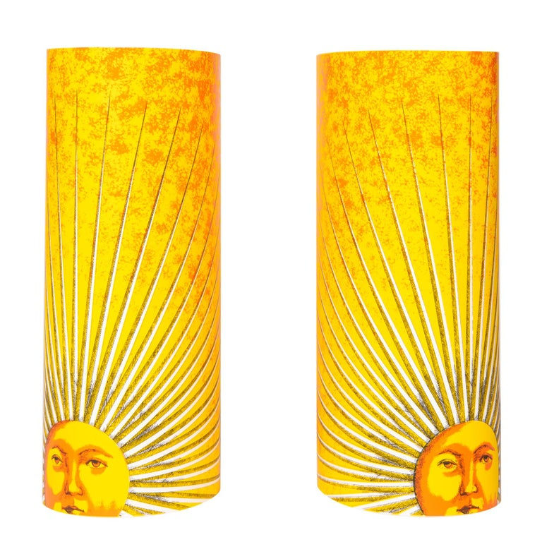 "Pair of Small Perspex Table Lamps ""Sole"" by Barnaba Fornasetti, Italy circa 1995"