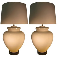 Pair of Large Elegant White Porcelain Glazed Ceramic Table Lamps