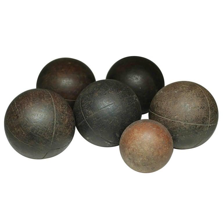 Wooden 20th c. Bocci Balls, circa 1940s, Set of Six