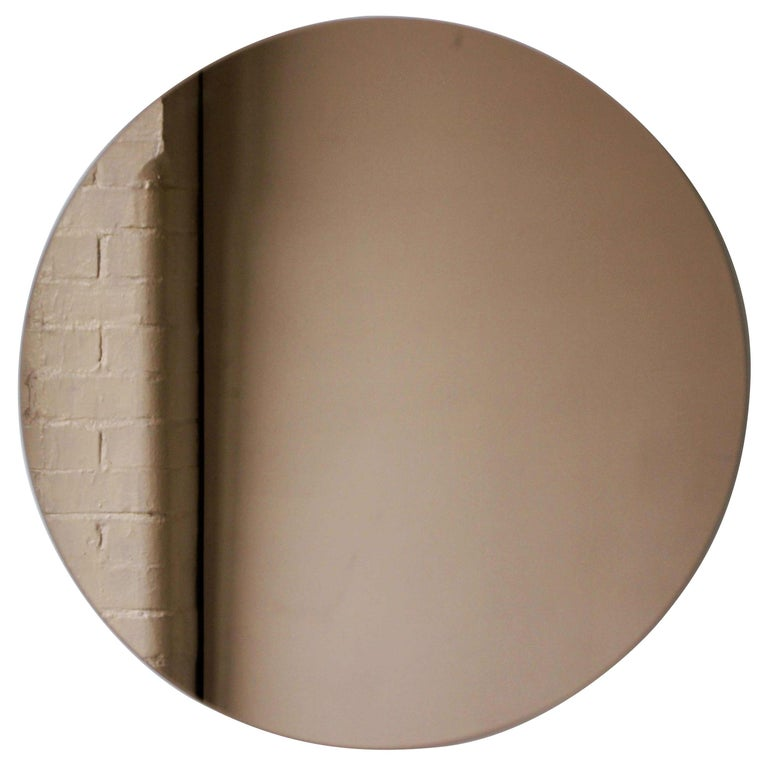 """Bronze Orbis Round Mirror, Frameless - Diam. 100cm / 39.4"""" For Sale"""