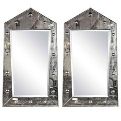 Venetian Style Pair of Pyramid Mirror