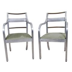 Pair of Brushed Copper and Aluminum Arm Chairs, Italy, circa 1940s