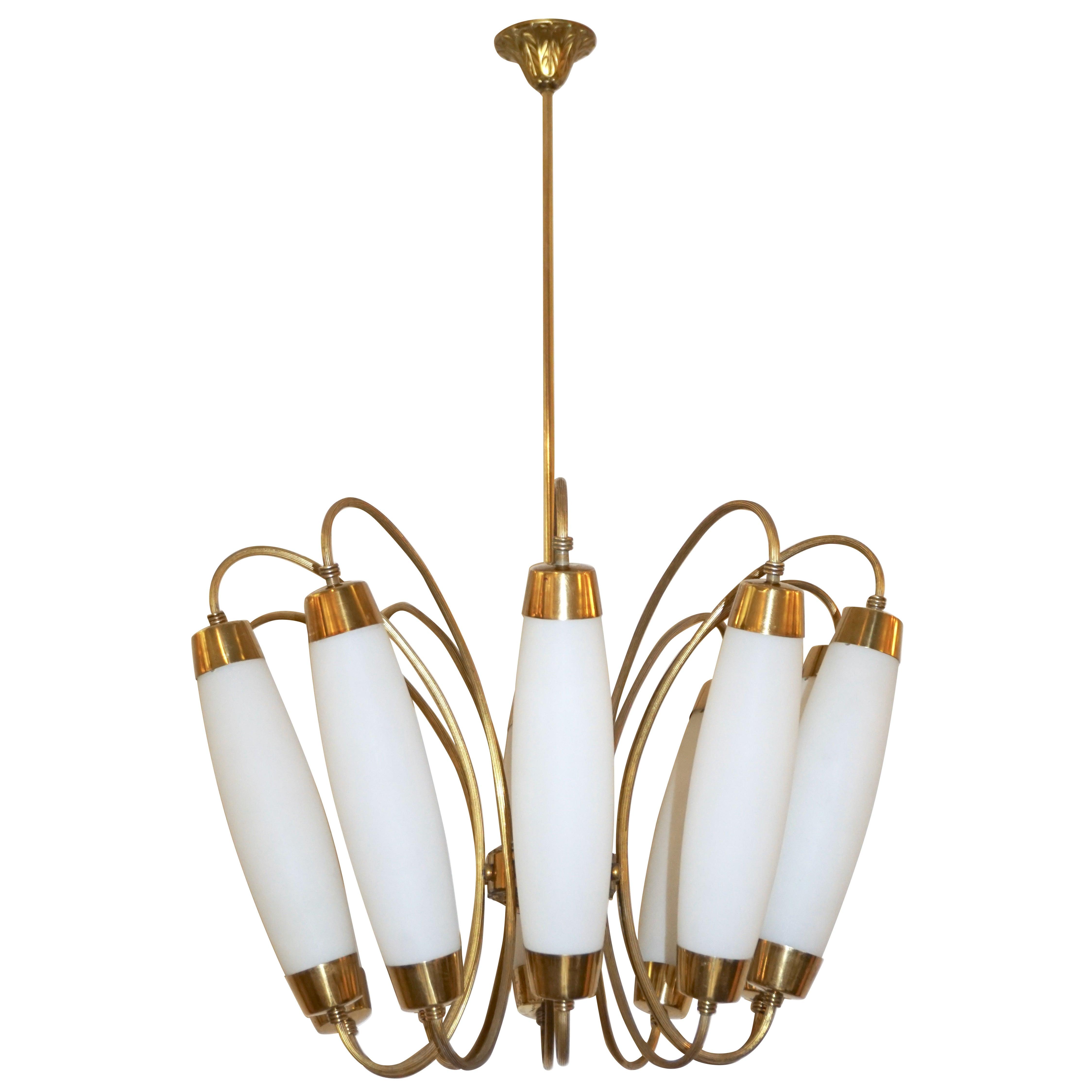 1950s Italian Vintage Stilnovo Style White Glass Ten-Light Brass Chandelier
