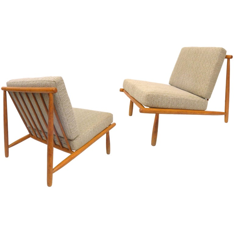 """Pair of """"Domus 1"""" Lounge Chairs by Alf Svensson for DUX"""