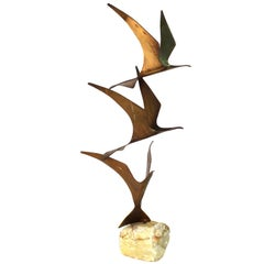 Curtis Jere Mid-Century Modern Brass Seagull Sculpture on Onyx Base