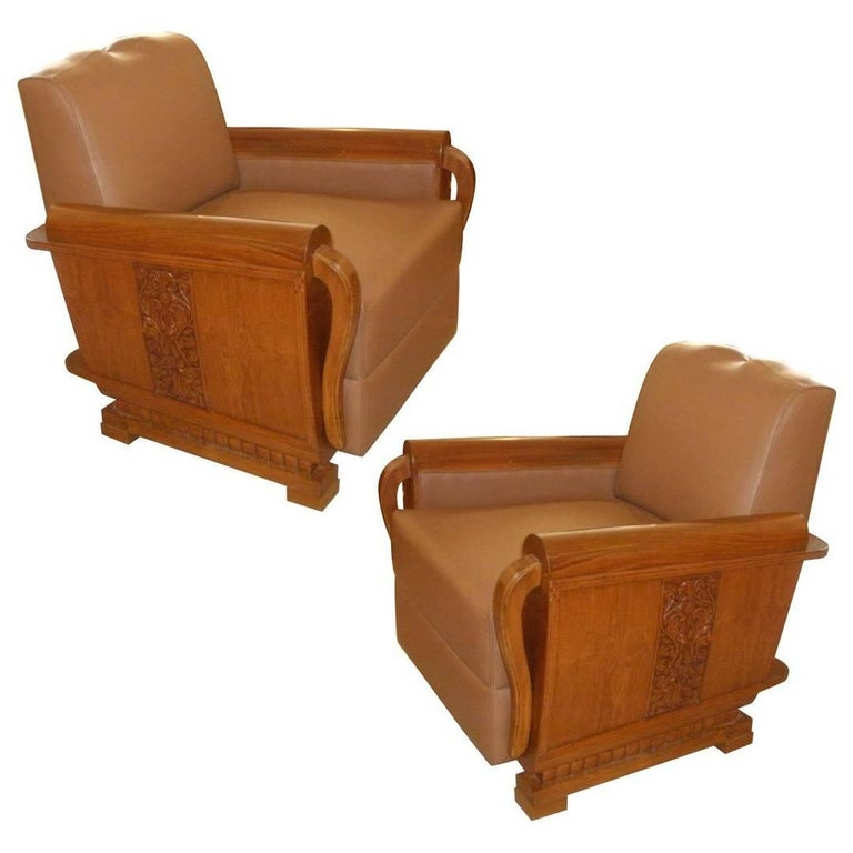 Pair of Art Deco Period Teak and Leather Club Chairs with Mustache Back 1
