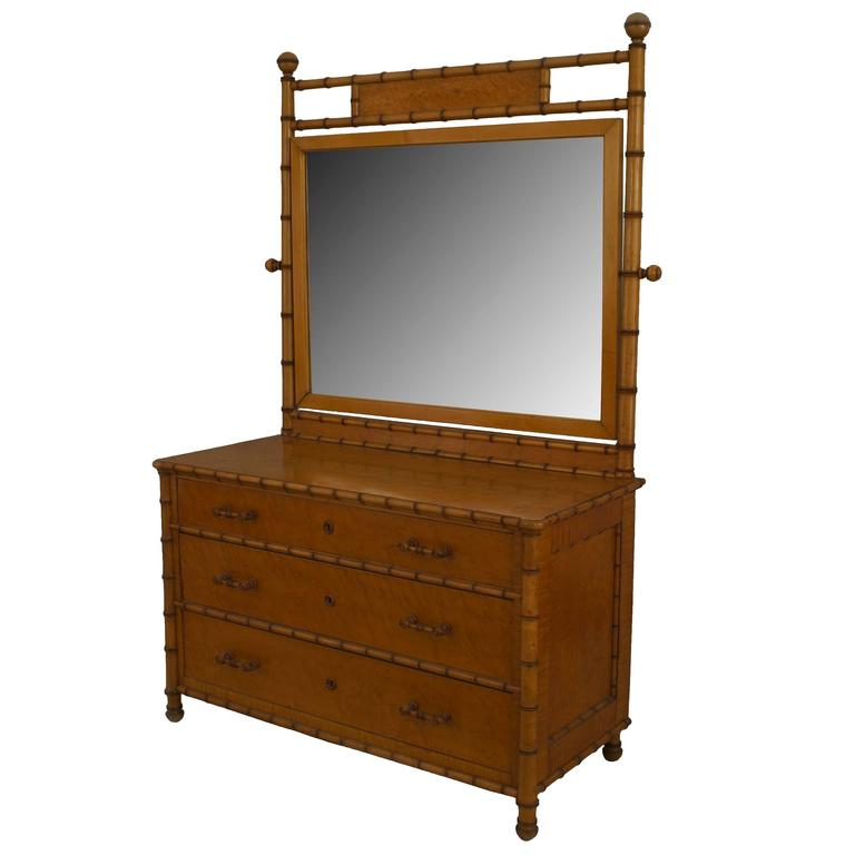 19th c. American Mirrored Faux Bamboo Dresser Attributed to R. J. Horner