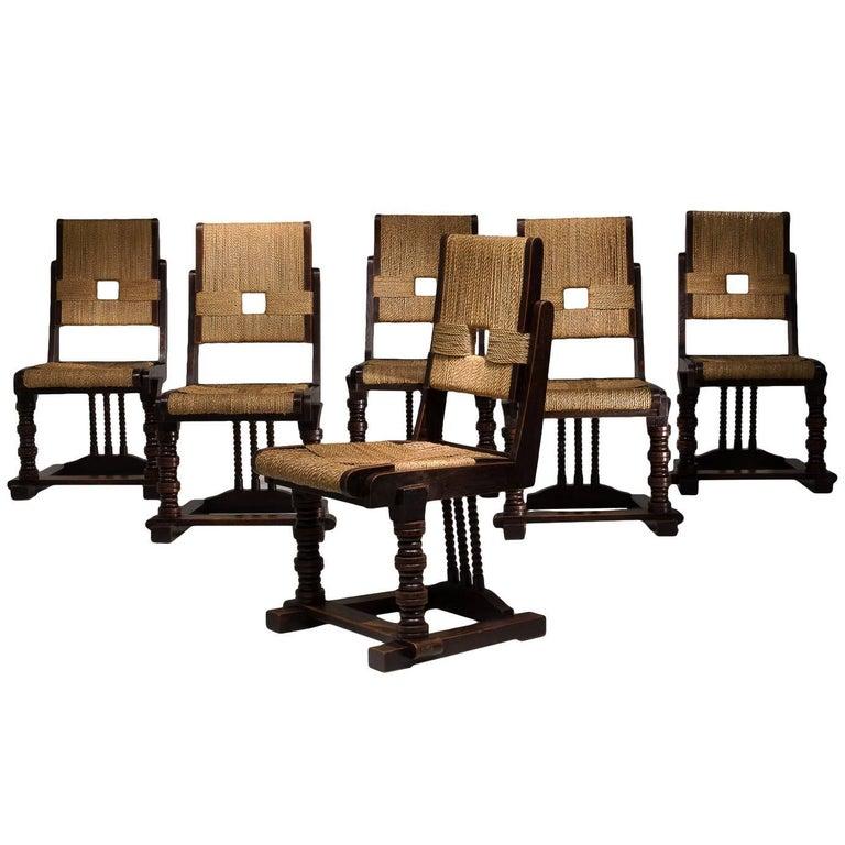Set of Six Oak and Rush Chairs