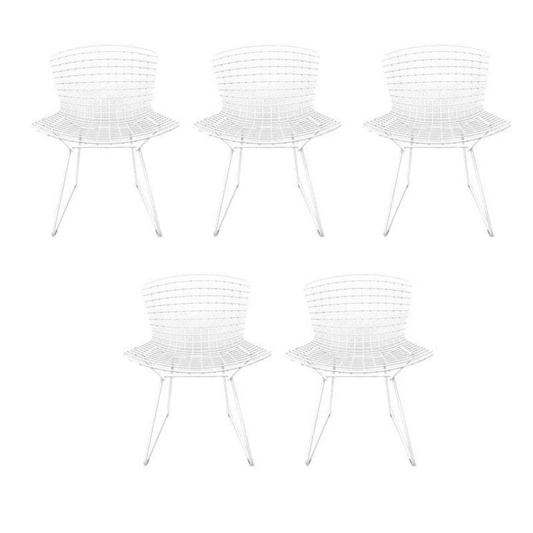 Five Iconic Harry Bertoia White Powder Coated Side Chairs Stamped Knoll