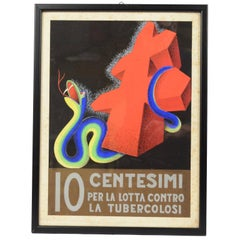 "1930s Italian Futurist Poster Sketch ""Ten Cents to Fight Tubercolosis"""
