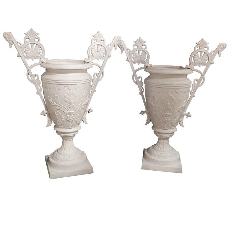 Cast Iron Garden Urns By Mott New York, circa 1880 For Sale