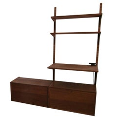 Poul Cadovius Wall Unit in Teak with Drop Front Cabinets and Shelves
