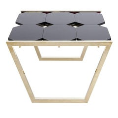 Contemporary m2kr Chess Low Table in Wood and Brass, Italy, 2017