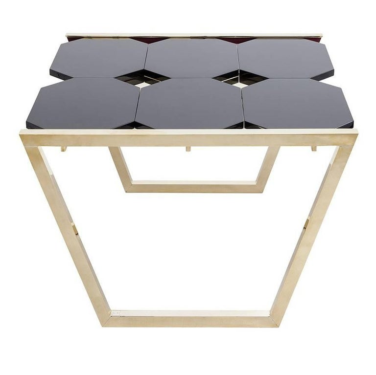 Contemporary m2kr Chess Low Table in Wood and Brass, Italy, 2017 For Sale