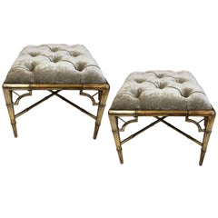 Pair of 1950s Giltwood Faux Bamboo Tufted Benches
