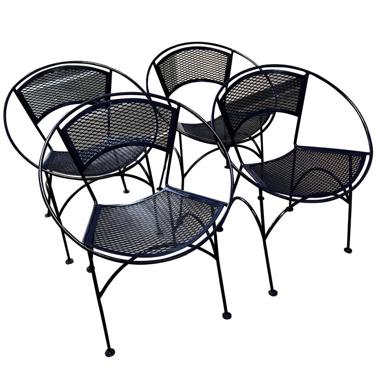 "Set of Four John Salterini Wrought Iron Navy Blue ""Radar"" Patio Chairs"