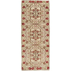 Vintage Turkish Runner with Floral European Design in Cream and Red and Green