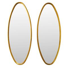 Pair of La Barge Oval Giltwood Mirrors Gold Leaf, USA, 1960s