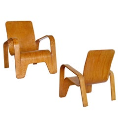 Pair of plywood Lounge Armchairs by Han Pieck Made by Lawo, Netherlands, 1940s
