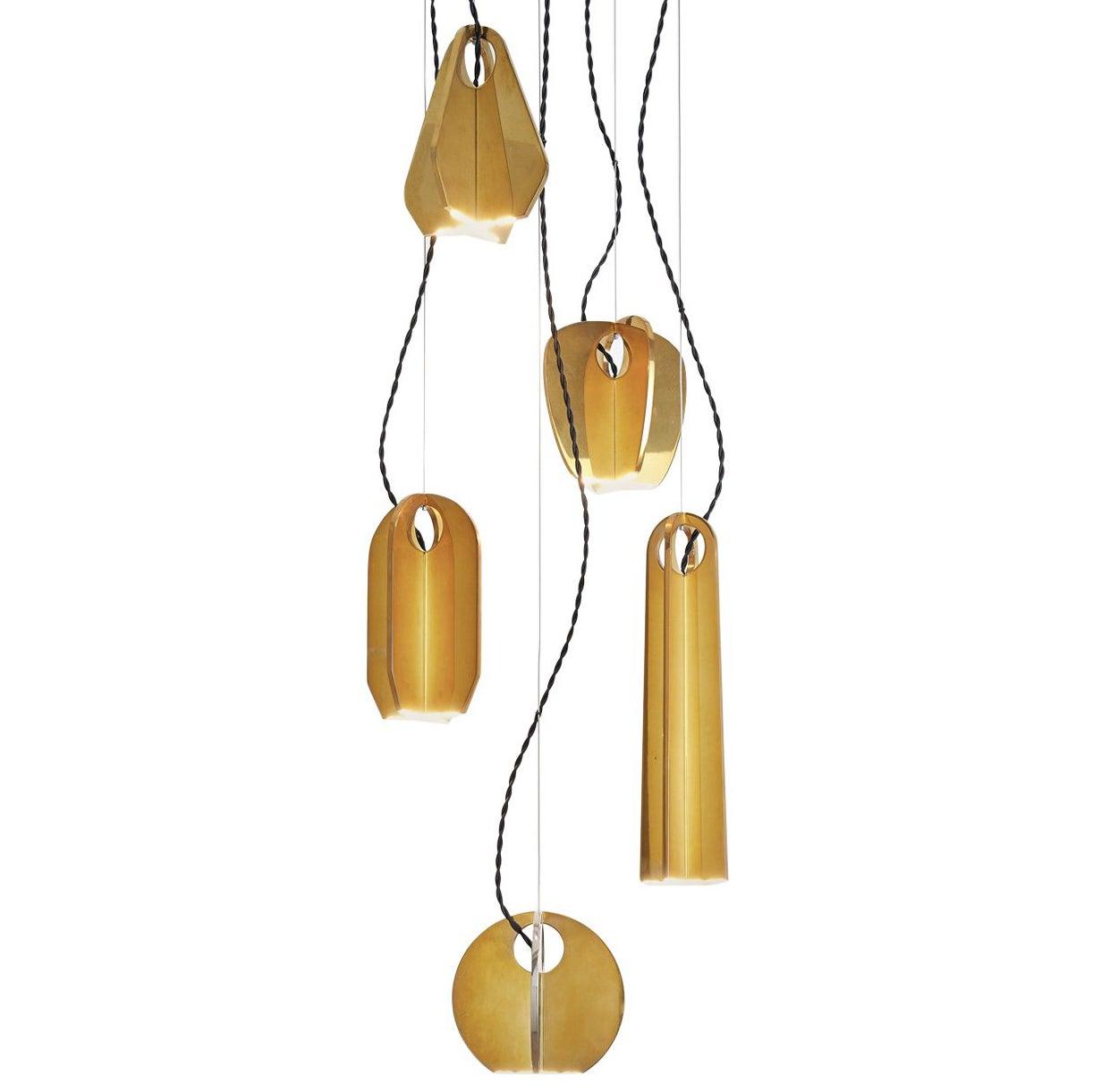 Tessere Five Lights LED Pendant / Chandelier Solid Brass Minimal light fixtures