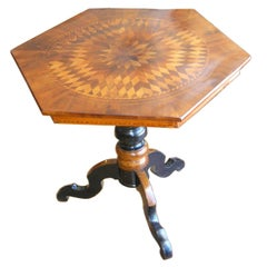 Italian Hexagonal Marquetry Table